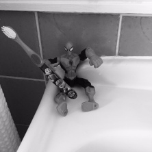 spiderman with toothbrush